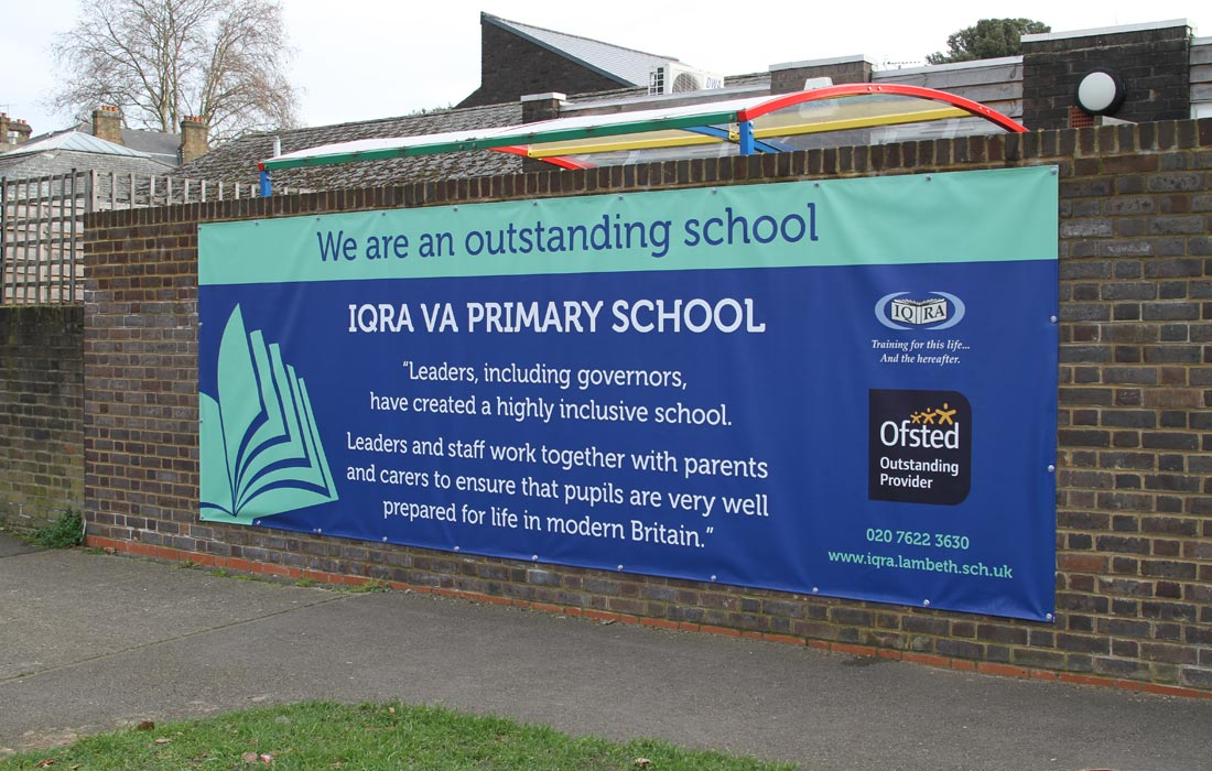 School banner depicting an Ofsted Outstanding Award