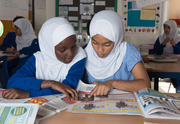 Students working together in a History lesson.