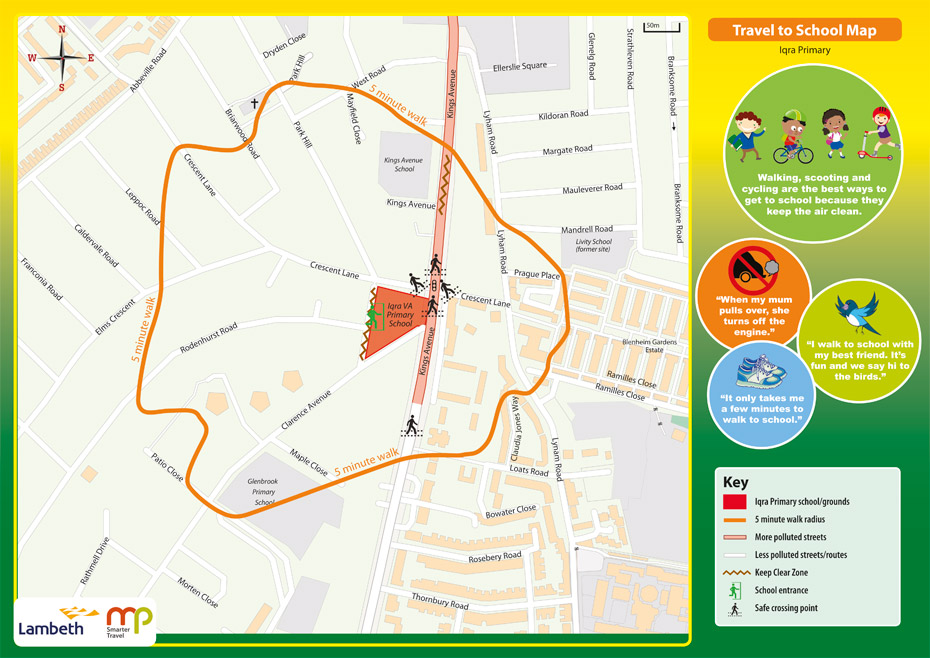 The Walking Bus Route map.