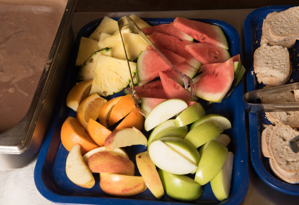 A selection of fresh fruit available on the school lunch menu.