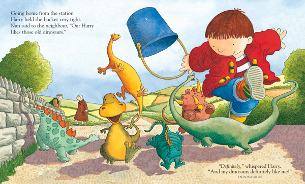 Harry and the Dinosaurs book spread.