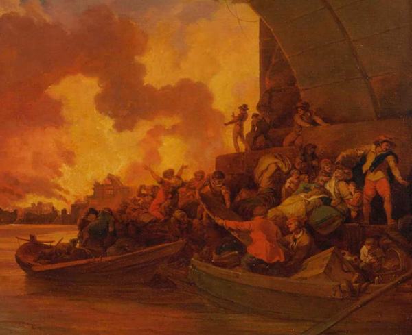 Painting of the Great Fire of London.