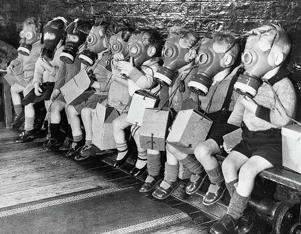 World War 2 children in their gas masks.