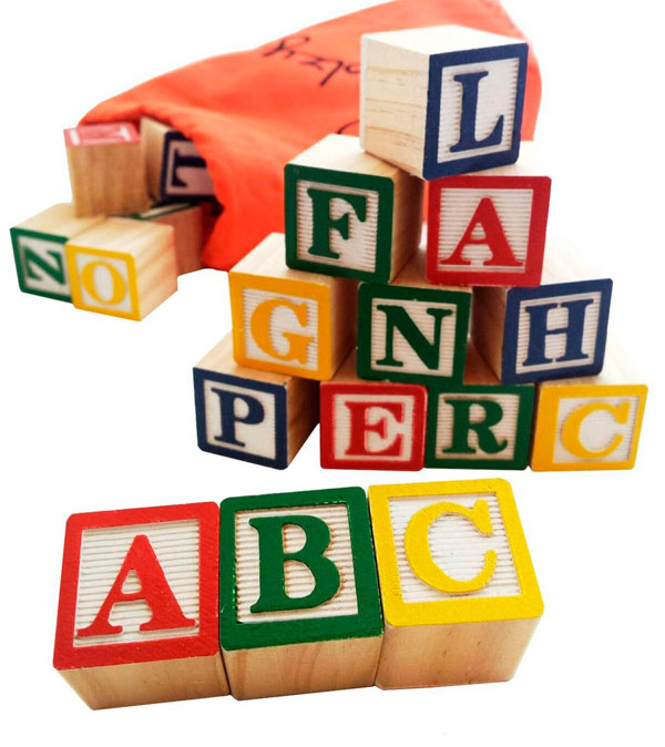 Letter building blocks.
