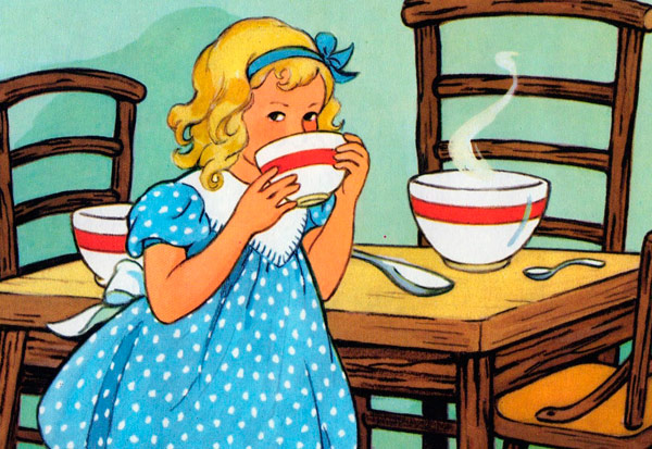 Goldilocks eating her porridge illustration.