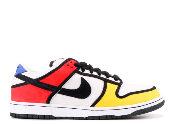A Mondrian painting applied to a Nike trainer for fashion.