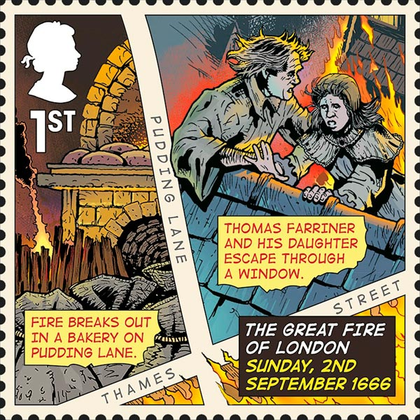 Great Fire of London stamp.