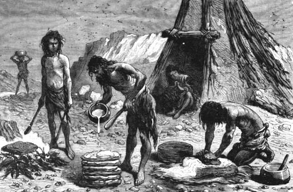 Bread making during the Stone Age period.