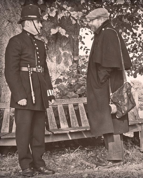An early policeman chatting to the public.