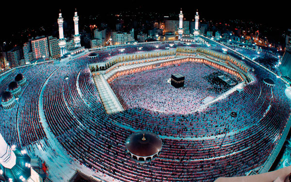 Once a year, Muslims gather together in Mecca and stand before the Kaaba praising Allah together.