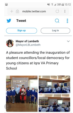 Mayor of Lambeth tweet