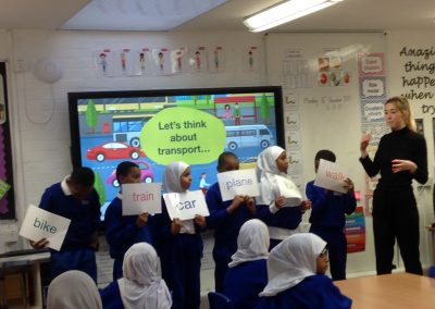 Pupils learning about safe travel