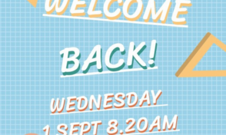 Welcome back! School starts Wednesday 1 September 8.20am.